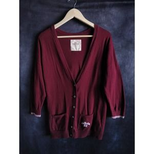 Hollister Maroon Burgundy Y2K Cardigan Sweater L